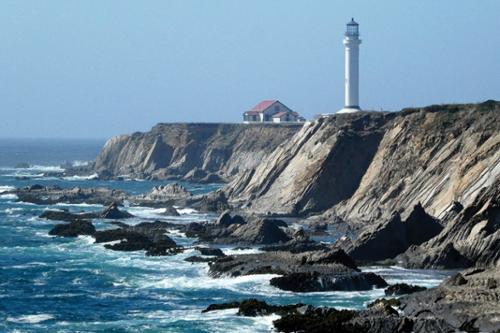 The Point Arena Lighthouse, in California, began operation in 1908 after the first lighthouse was damaged by an earthquake. Becky Tucker took her first trip to California on Tuesday, July 23, with her sister and brother-in-law.
